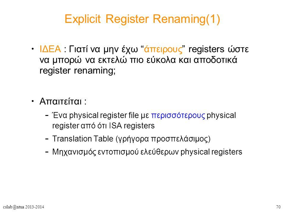 "70cslab@ntua 2013-2014 Explicit Register Renaming(1) ΙΔΕΑ : Γιατί να μην έχω ""άπειρους"" registers ώστε να μπορώ να εκτελώ πιο εύκολα και αποδοτικά reg"