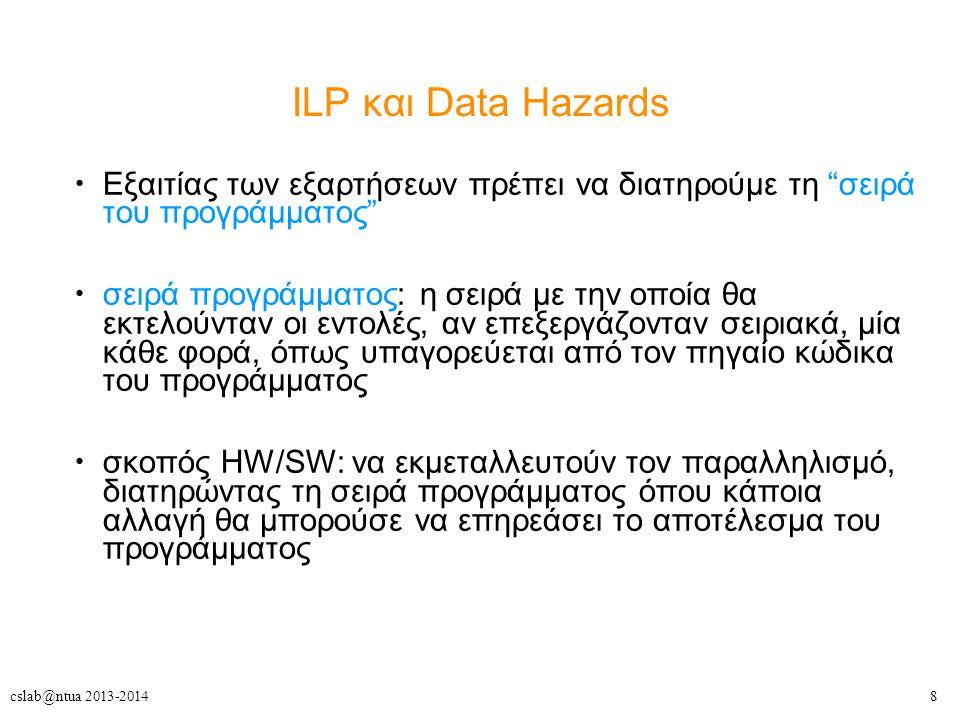 """8cslab@ntua 2013-2014 ILP και Data Hazards Εξαιτίας των εξαρτήσεων πρέπει να διατηρούμε τη """"σειρά του προγράμματος"""" σειρά προγράμματος: η σειρά με την"""