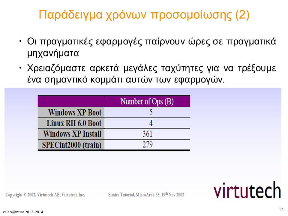 12 cslab@ntua 2013-2014 Παράδειγμα χρόνων προσομοίωσης (2) Οι πραγματικές εφαρμογές παίρνουν ώρες σε πραγματικά μηχανήματα Χρειαζόμαστε αρκετά μεγάλες ταχύτητες για να τρέξουμε ένα σημαντικό κομμάτι αυτών των εφαρμογών.