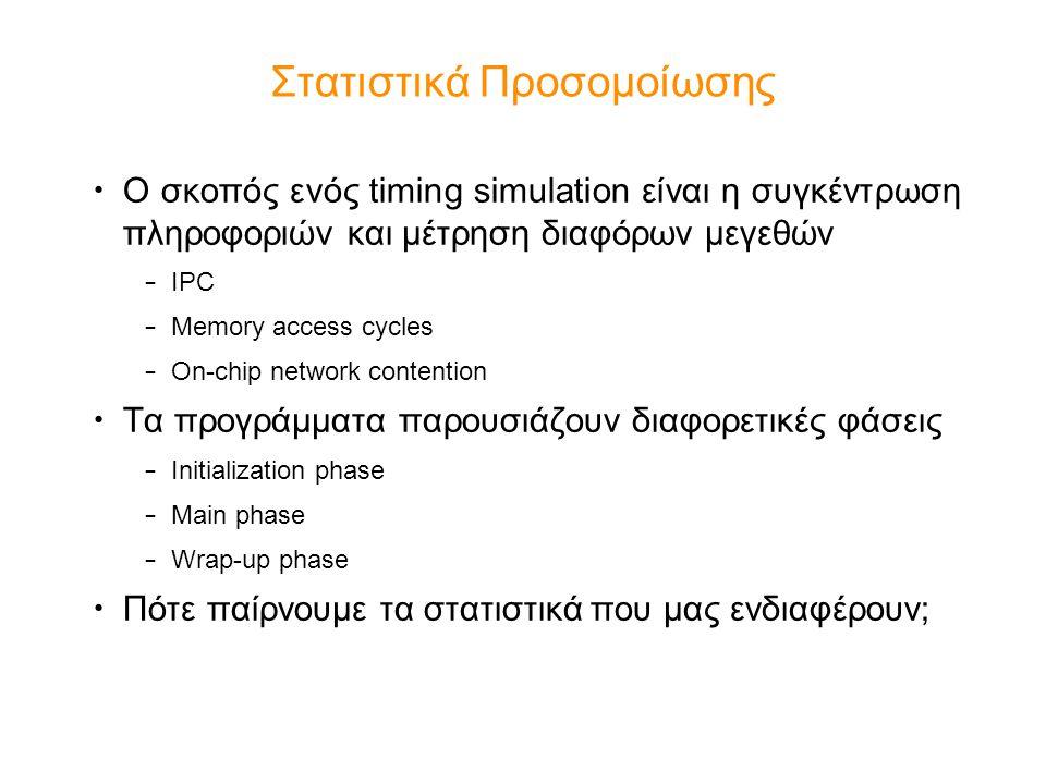 Στατιστικά Προσομοίωσης Ο σκοπός ενός timing simulation είναι η συγκέντρωση πληροφοριών και μέτρηση διαφόρων μεγεθών – IPC – Memory access cycles – On-chip network contention Τα προγράμματα παρουσιάζουν διαφορετικές φάσεις – Initialization phase – Main phase – Wrap-up phase Πότε παίρνουμε τα στατιστικά που μας ενδιαφέρουν;