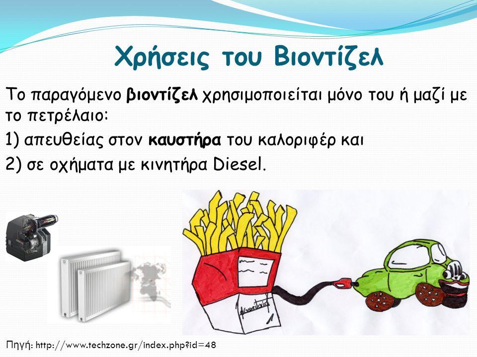 Χρήσεις του Βιοντίζελ Το παραγόμενο βιοντίζελ χρησιμοποιείται μόνο του ή μαζί με το πετρέλαιο: 1) απευθείας στον καυστήρα του καλοριφέρ και 2) σε οχήμ