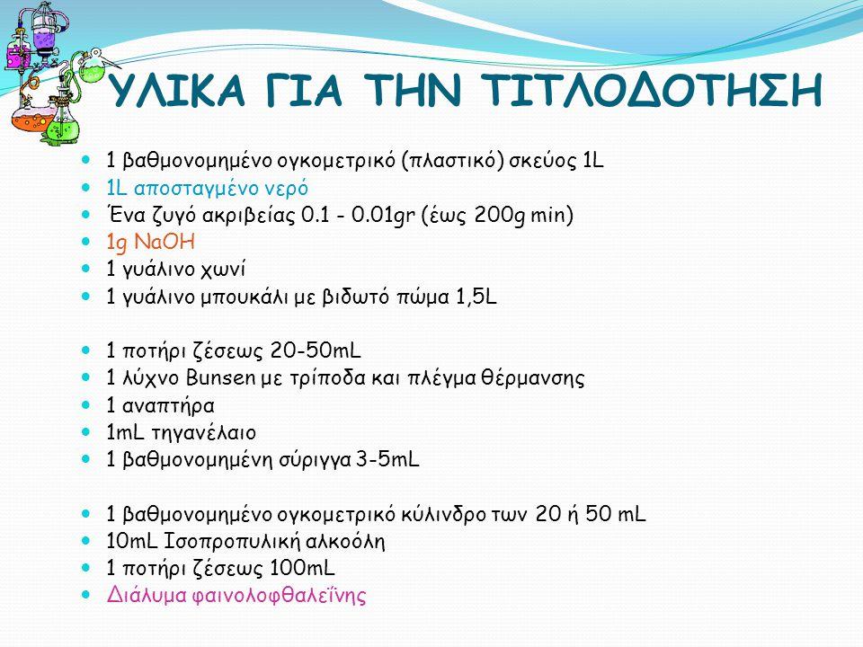 ΥΛΙΚΑ ΓΙΑ ΤΗΝ ΤΙΤΛΟΔΟΤΗΣΗ 1 βαθμονομημένο ογκομετρικό (πλαστικό) σκεύος 1L 1L αποσταγμένο νερό Ένα ζυγό ακριβείας 0.1 - 0.01gr (έως 200g min) 1g NaOH