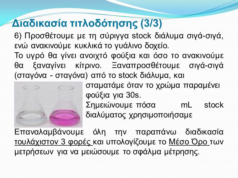 Διαδικασία τιτλοδότησης (3/3) 6) Προσθέτουμε με τη σύριγγα stock διάλυμα σιγά-σιγά, ενώ ανακινούμε κυκλικά το γυάλινο δοχείο. Το υγρό θα γίνει ανοιχτό