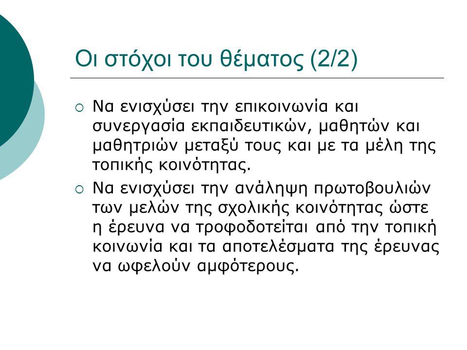 Η μεθοδολογία υλοποίησης  Έρευνα γραφείου (αναζήτηση σχετικής βιβλιογραφίας, αρθρογραφίας, ιστοσελίδων)  Επίσκεψη στο χώρο της «Ελληνικής Εριουργίας Α.Ε.» στα Άνω Πατήσια  Έρευνα πεδίου: α) ερωτηματολόγια (κλειστού και ανοιχτού τύπου) ή/και συνεντεύξεις σε μέλη της τοπικής κοινωνίας (φυσικά πρόσωπα και τοπικές επιχειρήσεις) β) ημιδομημένες συνεντεύξεις σε εκπροσώπους οργανισμών και ομάδων ενδιαφερομένων.