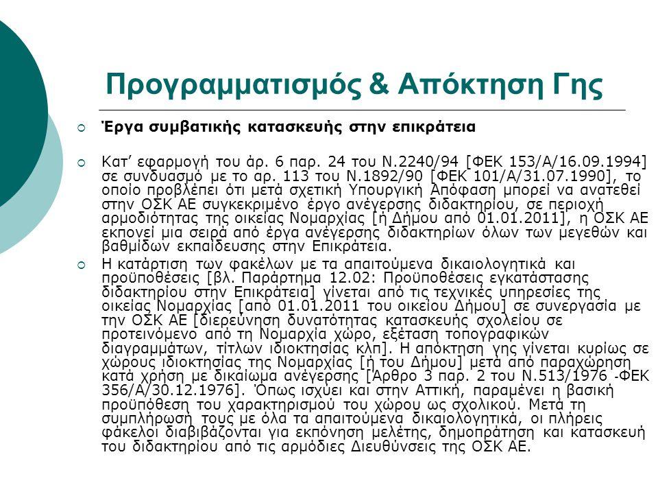 Προγραμματισμός & Απόκτηση Γης  Έργα συμβατικής κατασκευής στην επικράτεια  Κατ' εφαρμογή του άρ. 6 παρ. 24 του Ν.2240/94 [ΦΕΚ 153/Α/16.09.1994] σε