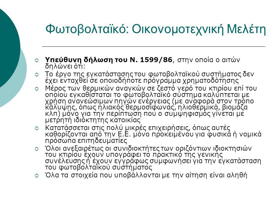  Υπεύθυνη δήλωση του Ν. 1599/86, στην οποία ο αιτών δηλώνει ότι:  Το έργο της εγκατάστασης του φωτοβολταϊκού συστήματος δεν έχει ενταχθεί σε οποιοδή