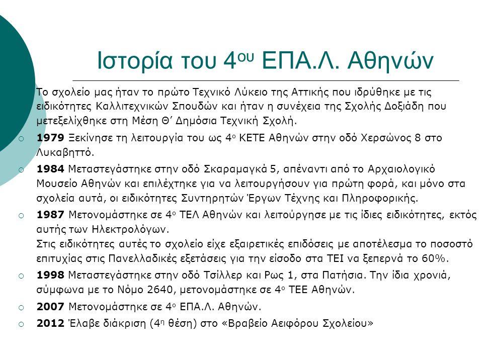 Ιστορία του 4 ου ΕΠΑ.Λ. Αθηνών  Το σχολείο μας ήταν το πρώτο Τεχνικό Λύκειο της Αττικής που ιδρύθηκε με τις ειδικότητες Καλλιτεχνικών Σπουδών και ήτα