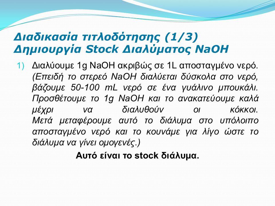 Διαδικασία τιτλοδότησης (1/3) Δημιουργία Stock Διαλύματος NaOH 1) Διαλύουμε 1g NaOH ακριβώς σε 1L αποσταγμένο νερό. (Επειδή το στερεό ΝaOΗ διαλύεται δ