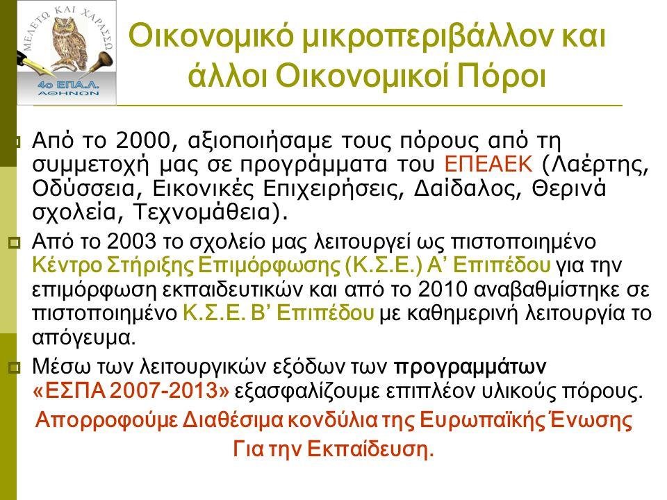 Οικονομικό μικροπεριβάλλον και άλλοι Οικονομικοί Πόροι  Από το 2000, αξιοποιήσαμε τους πόρους από τη συμμετοχή μας σε προγράμματα του ΕΠΕΑΕΚ (Λαέρτης