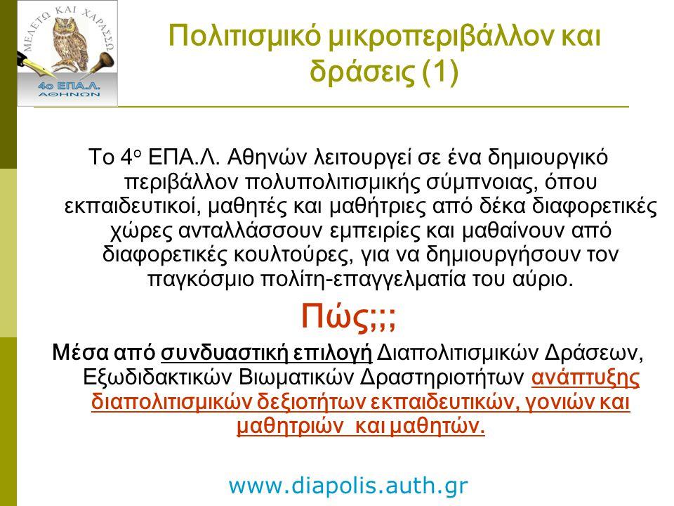 Πολιτισμικό μικροπεριβάλλον και δράσεις (1) Το 4 ο ΕΠΑ.Λ. Αθηνών λειτουργεί σε ένα δημιουργικό περιβάλλον πολυπολιτισμικής σύμπνοιας, όπου εκπαιδευτικ