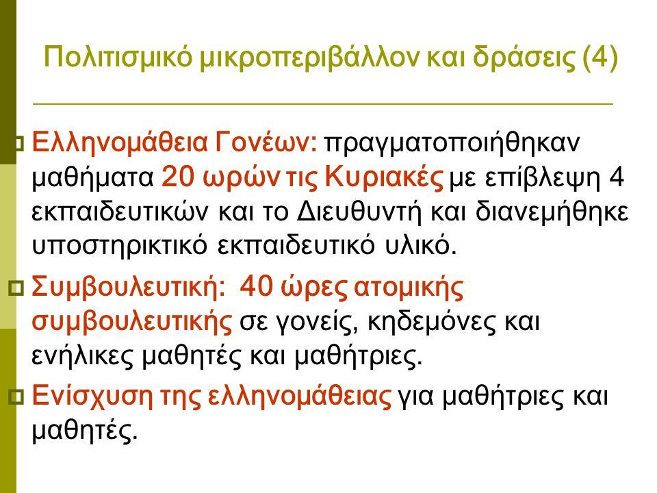 Πολιτισμικό μικροπεριβάλλον και δράσεις (4)  Ελληνομάθεια Γονέων: πραγματοποιήθηκαν μαθήματα 20 ωρών τις Κυριακές με επίβλεψη 4 εκπαιδευτικών και το