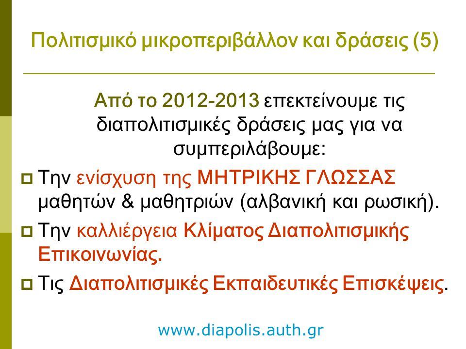Πολιτισμικό μικροπεριβάλλον και δράσεις (5) Από το 2012-2013 επεκτείνουμε τις διαπολιτισμικές δράσεις μας για να συμπεριλάβουμε:  Την ενίσχυση της ΜΗ