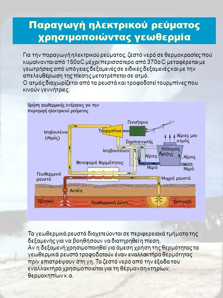 Παραγωγή ηλεκτρικού ρεύματος χρησιμοποιώντας γεωθερμία Για την παραγωγή ηλεκτρικού ρεύματος, ζεστό νερό σε θερμοκρασίες πού κυμαίνονται από 150οC μέχρ