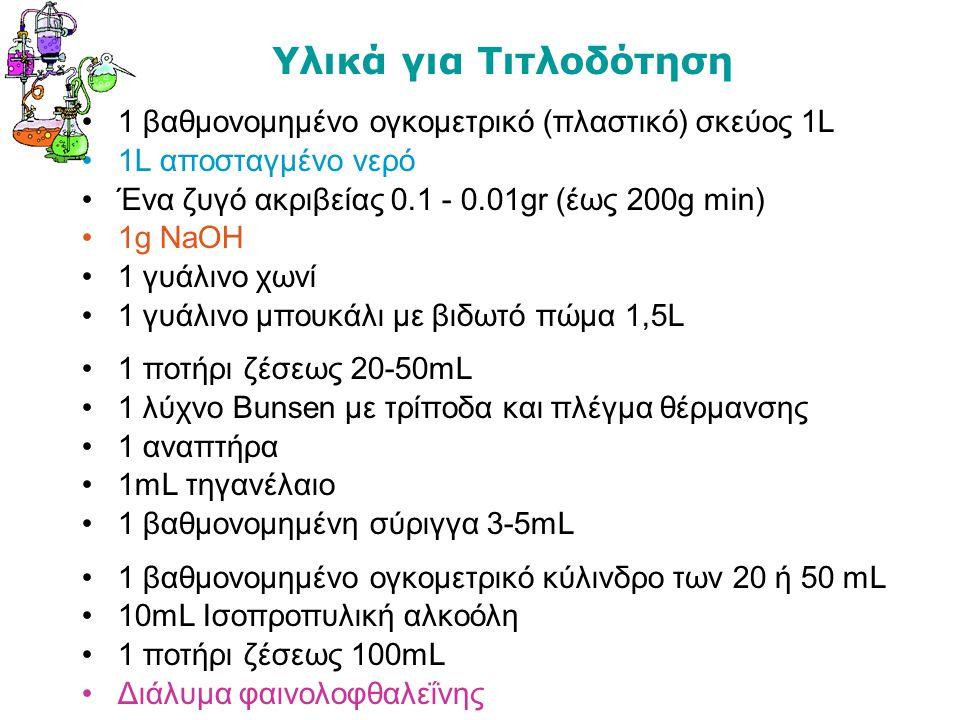 Υλικά για Τιτλοδότηση 1 βαθμονομημένο ογκομετρικό (πλαστικό) σκεύος 1L 1L αποσταγμένο νερό Ένα ζυγό ακριβείας 0.1 - 0.01gr (έως 200g min) 1g NaOH 1 γυ