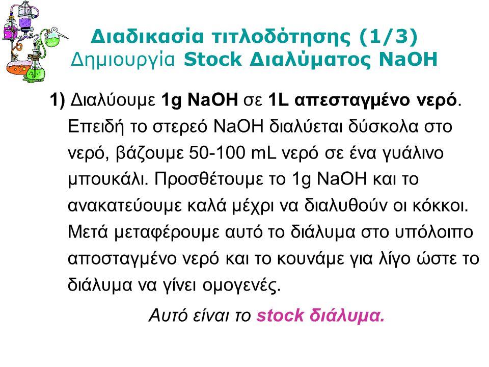 Διαδικασία τιτλοδότησης (1/3) Δημιουργία Stock Διαλύματος NaOH 1) Διαλύουμε 1g NaOH σε 1L απεσταγμένο νερό. Επειδή το στερεό ΝaOΗ διαλύεται δύσκολα στ