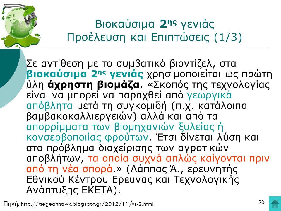 20 Βιοκαύσιμα 2 ης γενιάς Προέλευση και Επιπτώσεις (1/3) Σε αντίθεση με το συμβατικό βιοντίζελ, στα βιοκαύσιμα 2 ης γενιάς χρησιμοποιείται ως πρώτη ύλ