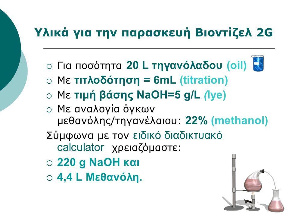 26 Υλικά για την παρασκευή Βιοντίζελ 2G  Για ποσότητα 20 L τηγανόλαδου (oil)  Με τιτλοδότηση = 6mL (titration)  Με τιμή βάσης NaΟΗ=5 g/L (lye)  Με