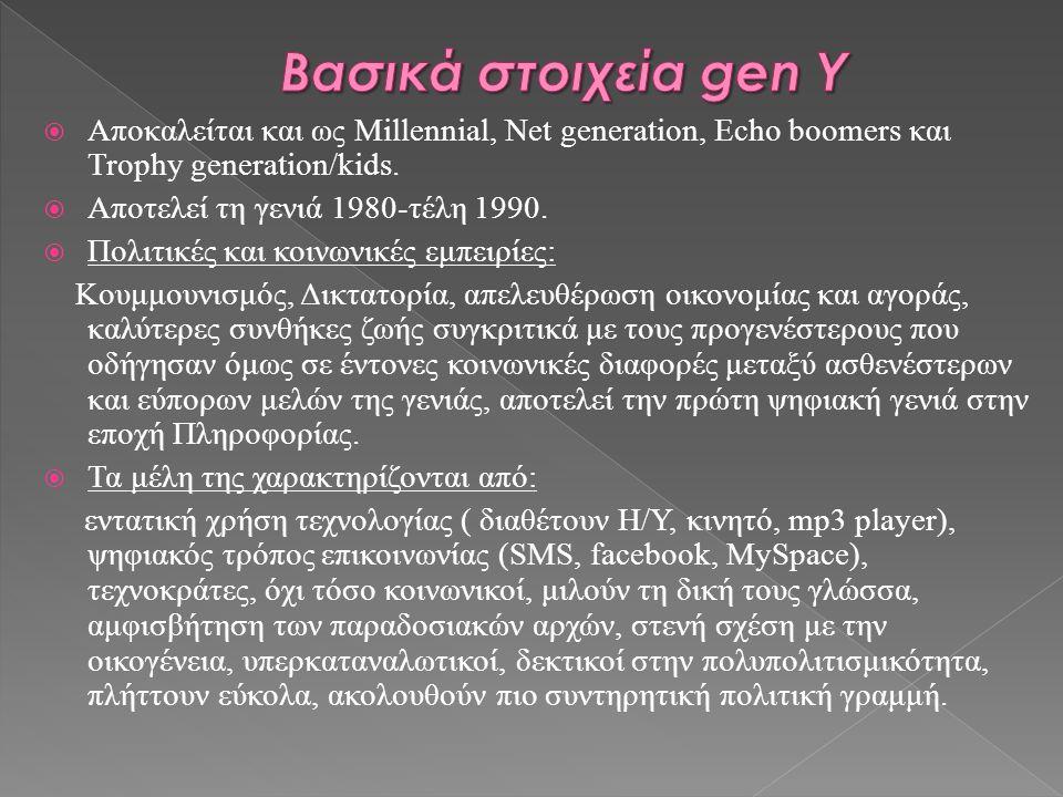  Αποκαλείται και ως Millennial, Net generation, Echo boomers και Trophy generation/kids.