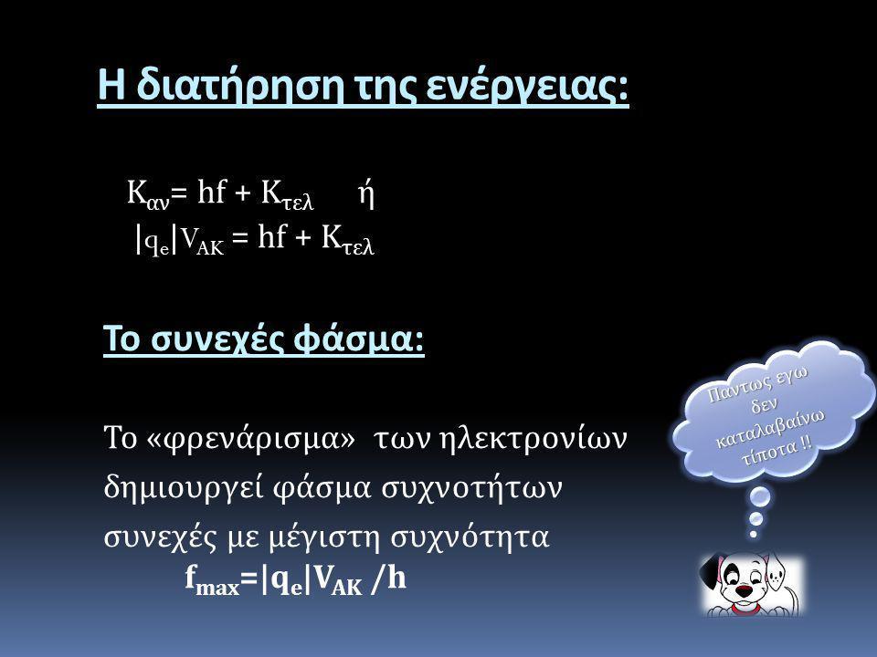 Η διατήρηση της ενέργειας : Κ αν = hf + K τελ ή |q e |V AK = hf + K τελ Το συνεχές φάσμα : Το « φρενάρισμα » των ηλεκτρονίων δημιουργεί φάσμα συχνοτήτ