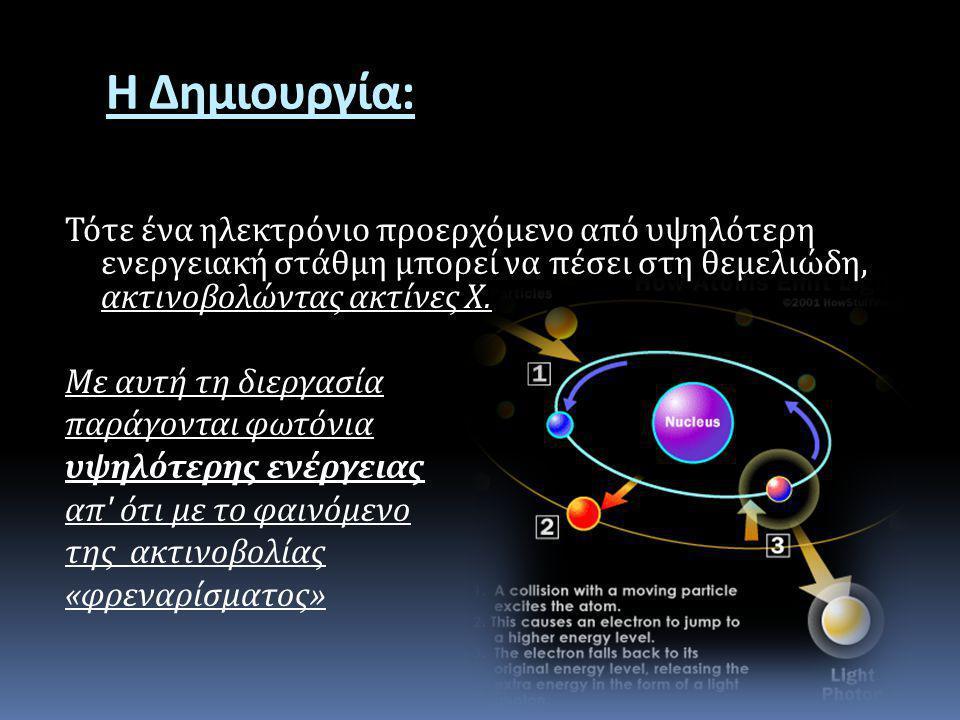 Η Δημιουργία : Τότε ένα ηλεκτρόνιο προερχόμενο από υψηλότερη ενεργειακή στάθμη μπορεί να πέσει στη θεμελιώδη, ακτινοβολώντας ακτίνες Χ. Με αυτή τη διε