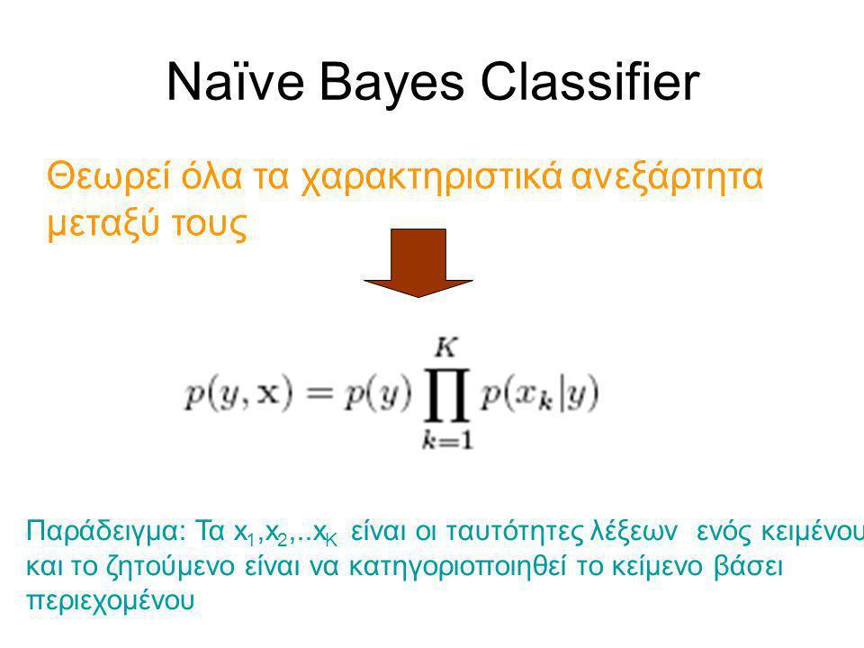 Naïve Bayes Classifier Θεωρεί όλα τα χαρακτηριστικά ανεξάρτητα μεταξύ τους Παράδειγμα: Τα x 1,x 2,..x K είναι οι ταυτότητες λέξεων ενός κειμένου και το ζητούμενο είναι να κατηγοριοποιηθεί το κείμενο βάσει περιεχομένου