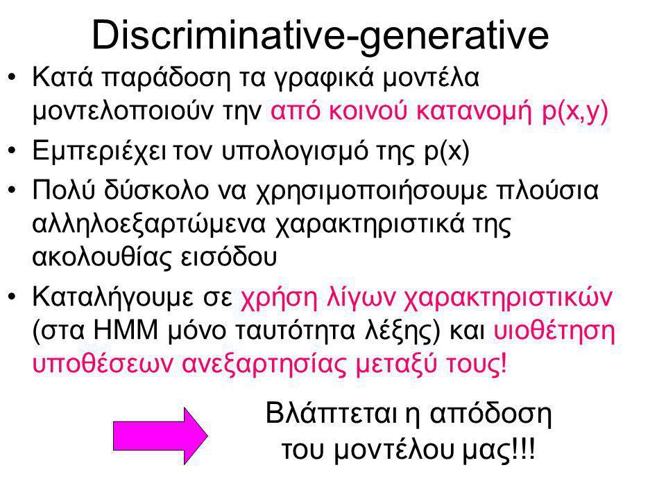 Discriminative-generative Κατά παράδοση τα γραφικά μοντέλα μοντελοποιούν την από κοινού κατανομή p(x,y) Εμπεριέχει τον υπολογισμό της p(x) Πολύ δύσκολο να χρησιμοποιήσουμε πλούσια αλληλοεξαρτώμενα χαρακτηριστικά της ακολουθίας εισόδου Καταλήγουμε σε χρήση λίγων χαρακτηριστικών (στα ΗΜΜ μόνο ταυτότητα λέξης) και υιοθέτηση υποθέσεων ανεξαρτησίας μεταξύ τους.