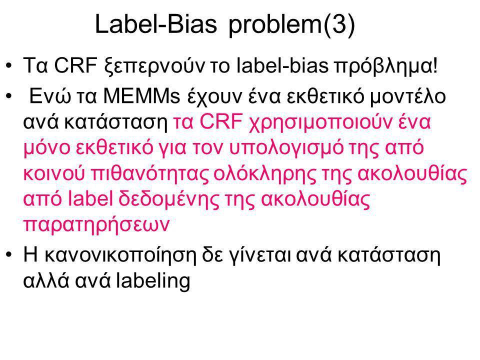 Label-Bias problem(3) Τα CRF ξεπερνούν το label-bias πρόβλημα.