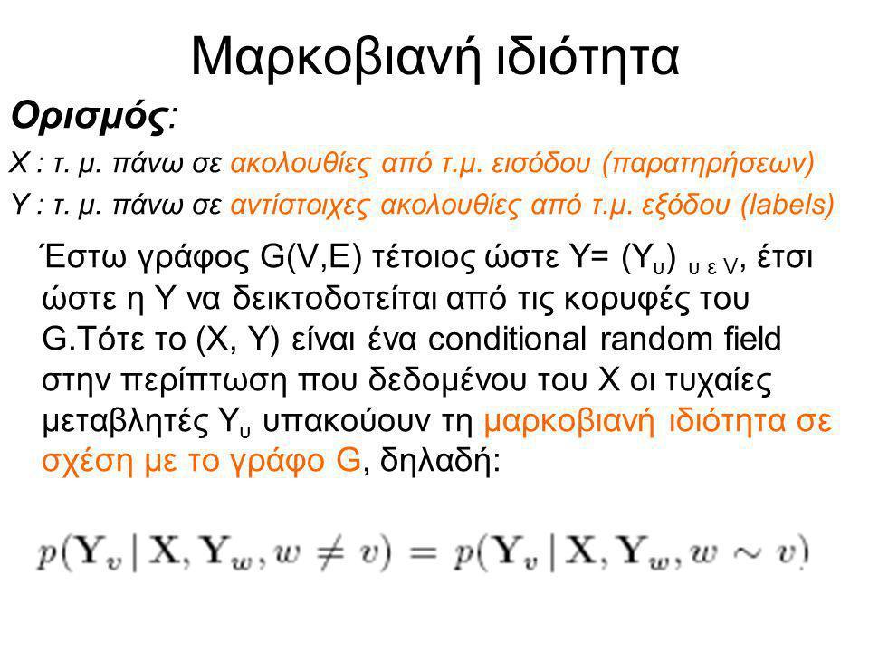 Μαρκοβιανή ιδιότητα Ορισμός: Χ : τ. μ. πάνω σε ακολουθίες από τ.μ.