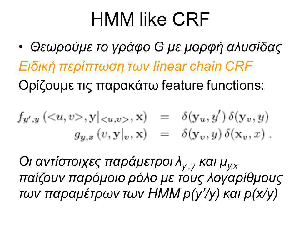 HMM like CRF Θεωρούμε το γράφο G με μορφή αλυσίδας Ειδική περίπτωση των linear chain CRF Ορίζουμε τις παρακάτω feature functions: Οι αντίστοιχες παράμετροι λ y',y και μ y,x παίζουν παρόμοιο ρόλο με τους λογαρίθμους των παραμέτρων των ΗΜΜ p(y'/y) και p(x/y)