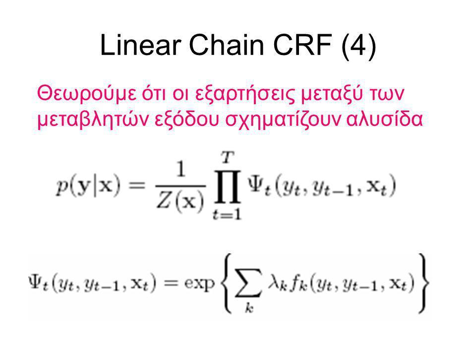 Linear Chain CRF (4) Θεωρούμε ότι οι εξαρτήσεις μεταξύ των μεταβλητών εξόδου σχηματίζουν αλυσίδα