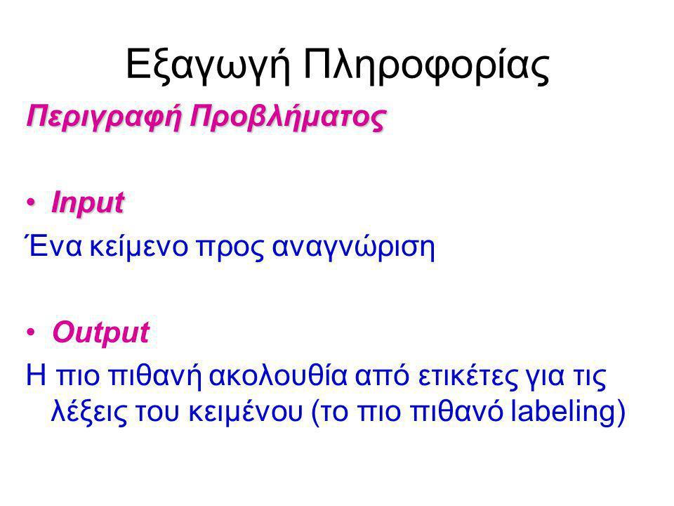 Εξαγωγή Πληροφορίας Περιγραφή Προβλήματος InputInput Ένα κείμενο προς αναγνώριση Output Η πιο πιθανή ακολουθία από ετικέτες για τις λέξεις του κειμένου (το πιο πιθανό labeling)