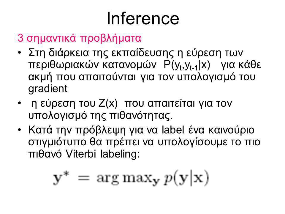 Inference 3 σημαντικά προβλήματα Στη διάρκεια της εκπαίδευσης η εύρεση των περιθωριακών κατανομών P(y t,y t-1 |x) για κάθε ακμή που απαιτούνται για τον υπολογισμό του gradient η εύρεση του Ζ(x) που απαιτείται για τον υπολογισμό της πιθανότητας.