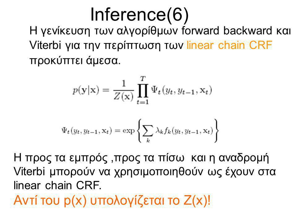Inference(6) Η γενίκευση των αλγορίθμων forward backward και Viterbi για την περίπτωση των linear chain CRF προκύπτει άμεσα.