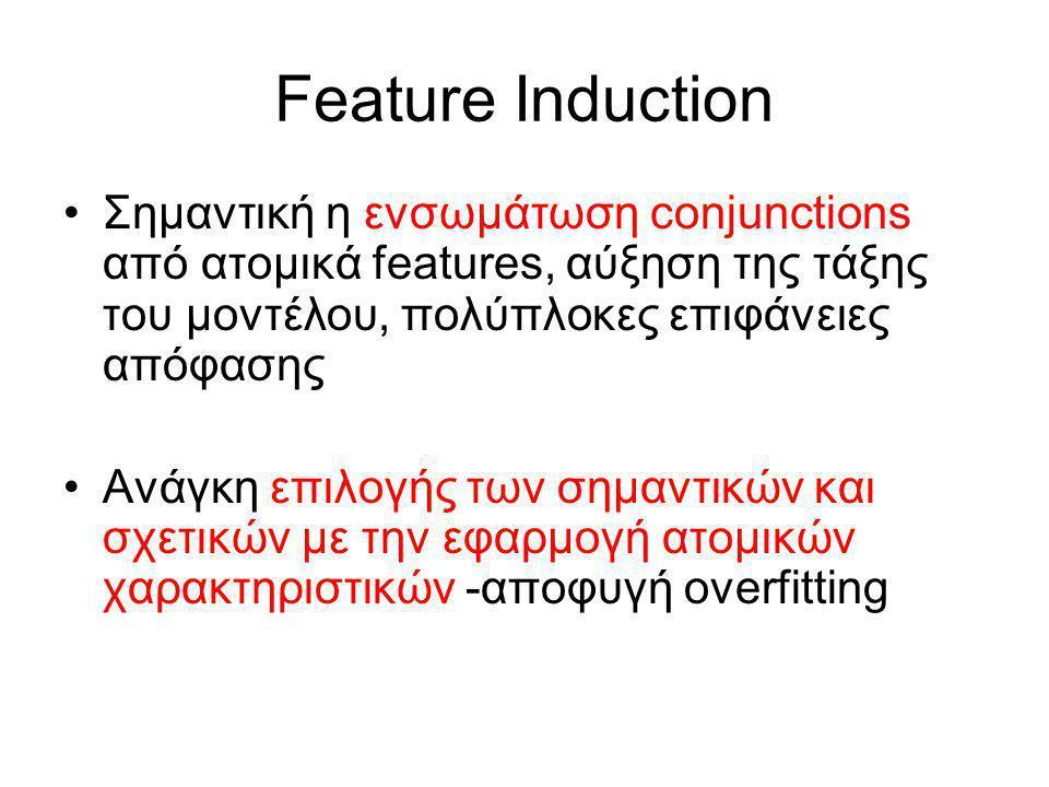 Feature Induction Σημαντική η ενσωμάτωση conjunctions από ατομικά features, αύξηση της τάξης του μοντέλου, πολύπλοκες επιφάνειες απόφασης Ανάγκη επιλογής των σημαντικών και σχετικών με την εφαρμογή ατομικών χαρακτηριστικών -αποφυγή overfitting
