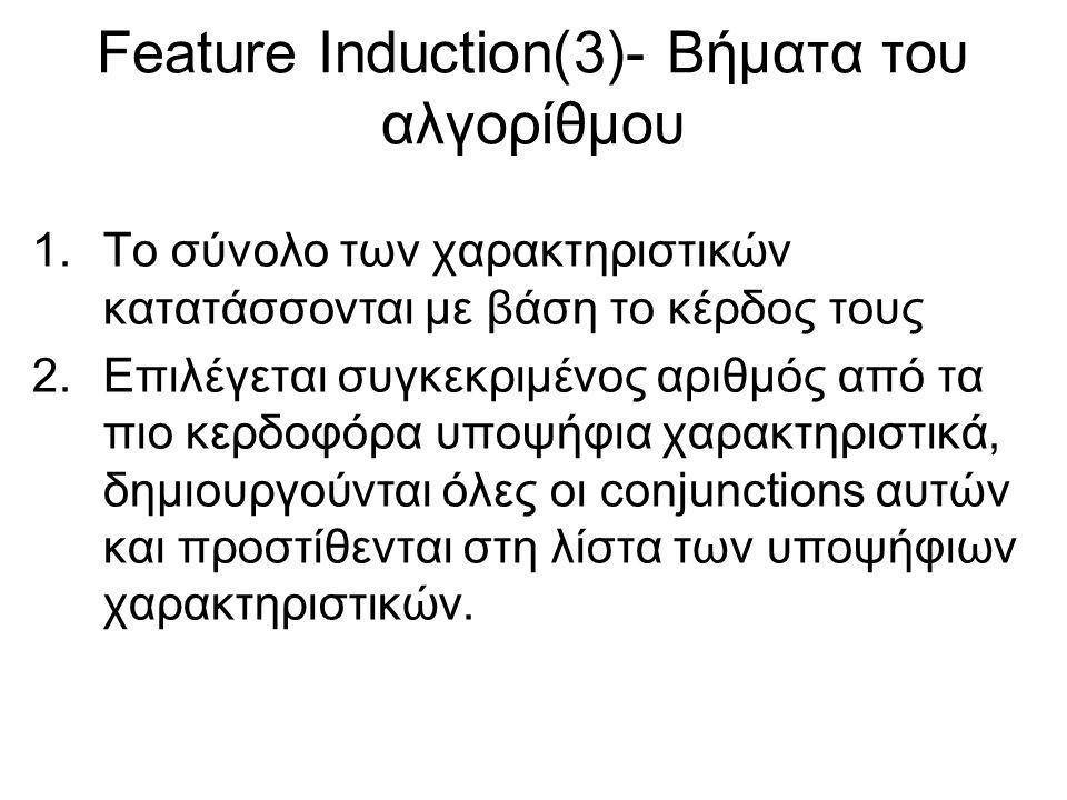 Feature Induction(3)- Βήματα του αλγορίθμου 1.Το σύνολο των χαρακτηριστικών κατατάσσονται με βάση το κέρδος τους 2.Επιλέγεται συγκεκριμένος αριθμός από τα πιο κερδοφόρα υποψήφια χαρακτηριστικά, δημιουργούνται όλες οι conjunctions αυτών και προστίθενται στη λίστα των υποψήφιων χαρακτηριστικών.