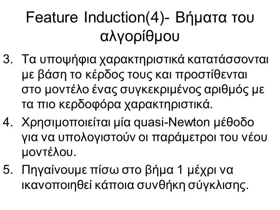 Feature Induction(4)- Βήματα του αλγορίθμου 3.Τα υποψήφια χαρακτηριστικά κατατάσσονται με βάση το κέρδος τους και προστίθενται στο μοντέλο ένας συγκεκριμένος αριθμός με τα πιο κερδοφόρα χαρακτηριστικά.