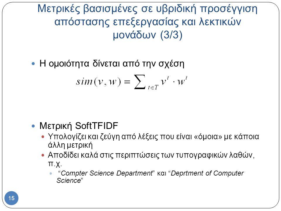 15 Μετρικές βασισμένες σε υβριδική προσέγγιση απόστασης επεξεργασίας και λεκτικών μονάδων (3/3) Η ομοιότητα δίνεται από την σχέση Μετρική SoftTFIDF Υπολογίζει και ζεύγη από λέξεις που είναι «όμοια» με κάποια άλλη μετρική Αποδίδει καλά στις περιπτώσεις των τυπογραφικών λαθών, π.χ.
