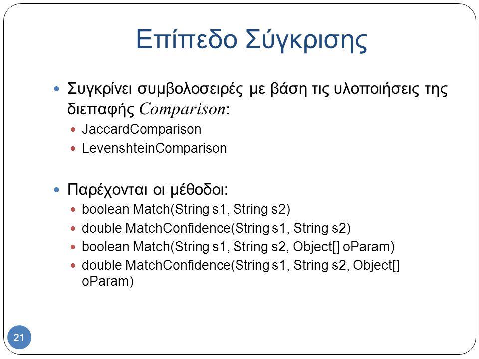21 Συγκρίνει συμβολοσειρές με βάση τις υλοποιήσεις της διεπαφής Comparison: JaccardComparison LevenshteinComparison Παρέχονται οι μέθοδοι: boolean Match(String s1, String s2) double MatchConfidence(String s1, String s2) boolean Match(String s1, String s2, Object[] oParam) double MatchConfidence(String s1, String s2, Object[] oParam) Επίπεδο Σύγκρισης