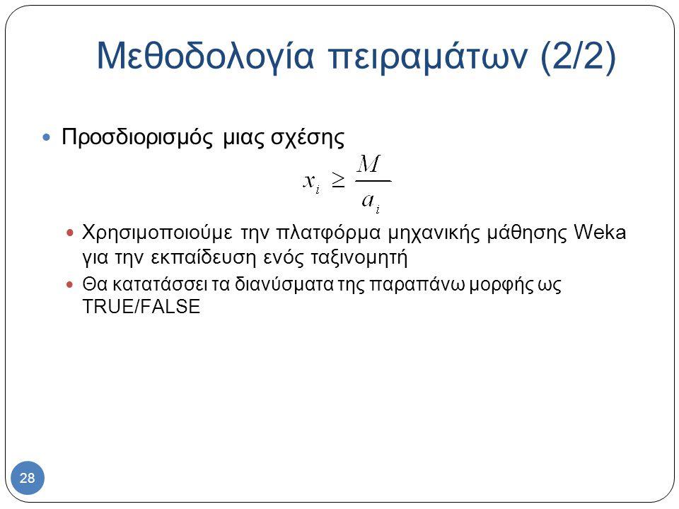28 Προσδιορισμός μιας σχέσης Χρησιμοποιούμε την πλατφόρμα μηχανικής μάθησης Weka για την εκπαίδευση ενός ταξινομητή Θα κατατάσσει τα διανύσματα της παραπάνω μορφής ως TRUE/FALSE Μεθοδολογία πειραμάτων (2/2)