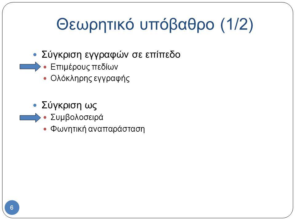 6 Σύγκριση εγγραφών σε επίπεδο Επιμέρους πεδίων Ολόκληρης εγγραφής Σύγκριση ως Συμβολοσειρά Φωνητική αναπαράσταση Θεωρητικό υπόβαθρο (1/2)