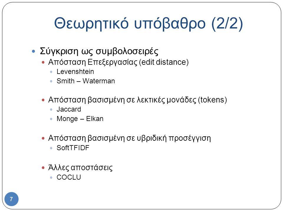 7 Σύγκριση ως συμβολοσειρές Απόσταση Επεξεργασίας (edit distance) Levenshtein Smith – Waterman Απόσταση βασισμένη σε λεκτικές μονάδες (tokens) Jaccard Monge – Elkan Απόσταση βασισμένη σε υβριδική προσέγγιση SoftTFIDF Άλλες αποστάσεις COCLU Θεωρητικό υπόβαθρο (2/2)