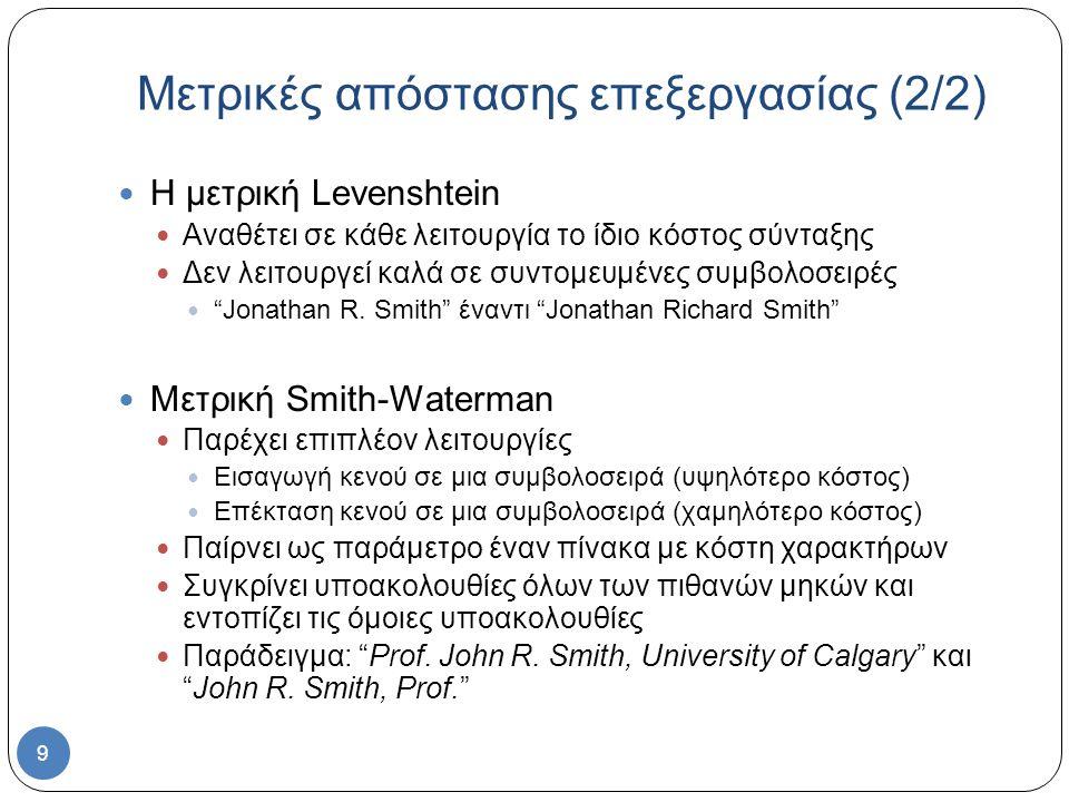 9 Η μετρική Levenshtein Αναθέτει σε κάθε λειτουργία το ίδιο κόστος σύνταξης Δεν λειτουργεί καλά σε συντομευμένες συμβολοσειρές Jonathan R.