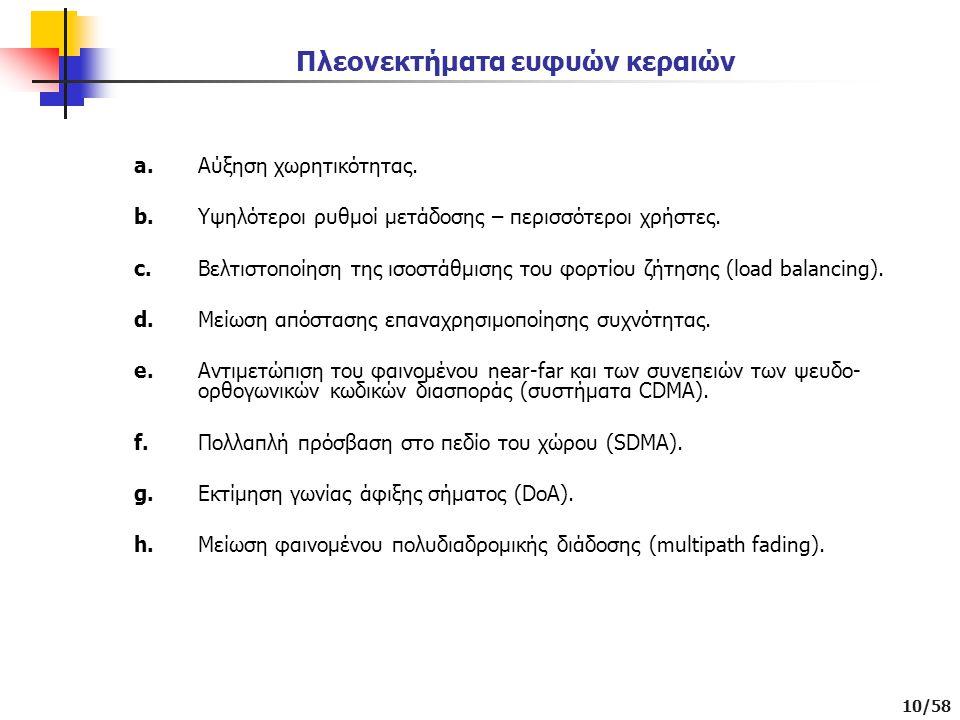 10/58 Πλεονεκτήματα ευφυών κεραιών a.Αύξηση χωρητικότητας.