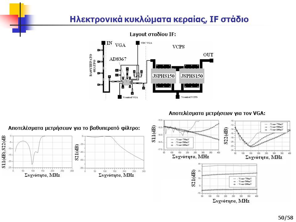 50/58 Ηλεκτρονικά κυκλώματα κεραίας, IF στάδιο Layout σταδίου IF: Αποτελέσματα μετρήσεων για το βαθυπερατό φίλτρο: Αποτελέσματα μετρήσεων για τον VGA: