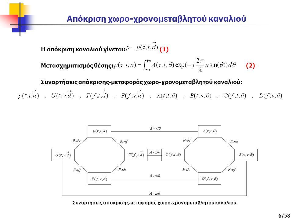 6/58 Απόκριση χωρο-χρονομεταβλητού καναλιού Η απόκριση καναλιού γίνεται: (1) Μετασχηματισμός θέσης: (2) Συναρτήσεις απόκρισης-μεταφοράς χωρο-χρονομεταβλητού καναλιού: Συναρτήσεις απόκρισης-μεταφοράς χωρο-χρονομεταβλητού καναλιού.