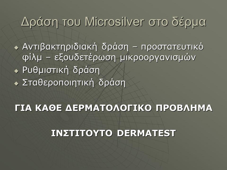 Δράση του Microsilver στο δέρμα  Αντιβακτηριδιακή δράση – προστατευτικό φίλμ – εξουδετέρωση μικροοργανισμών  Ρυθμιστική δράση  Σταθεροποιητική δράση ΓΙΑ ΚΑΘΕ ΔΕΡΜΑΤΟΛΟΓΙΚΟ ΠΡΟΒΛΗΜΑ ΙΝΣΤΙΤΟΥΤΟ DERMATEST