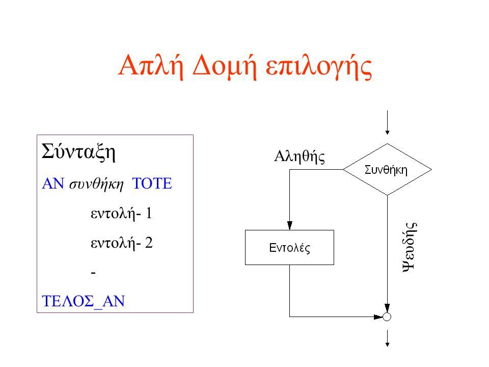 Απλή Δομή επιλογής Σύνταξη ΑΝ συνθήκη ΤΟΤΕ εντολή- 1 εντολή- 2 - ΤΕΛΟΣ_ΑΝ Ψευδής Αληθής