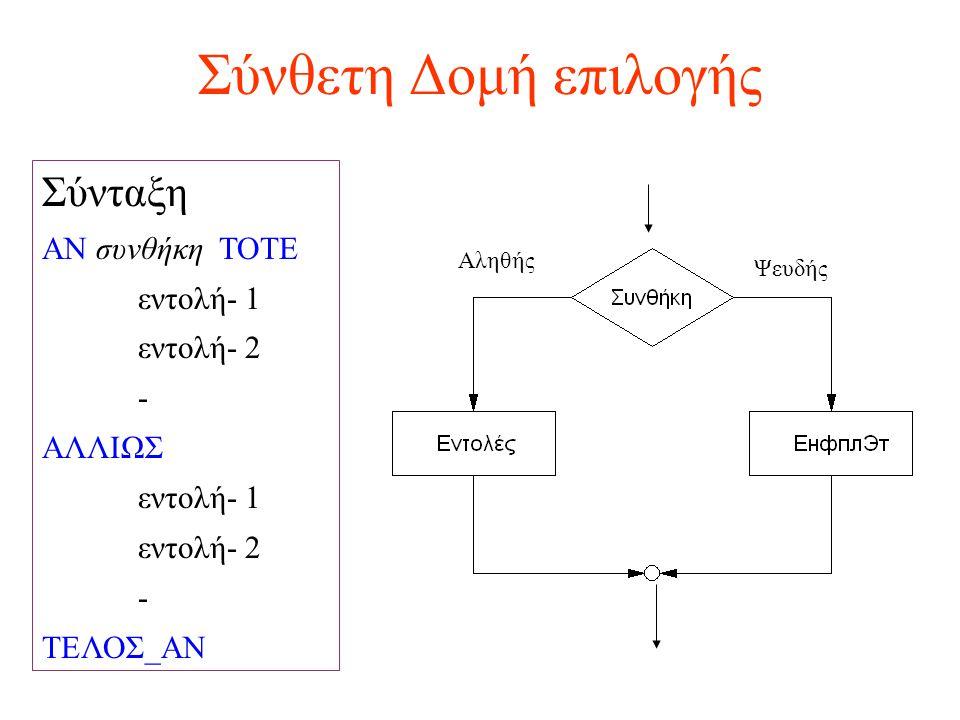 Σύνθετη Δομή επιλογής Σύνταξη ΑΝ συνθήκη ΤΟΤΕ εντολή- 1 εντολή- 2 - ΑΛΛΙΩΣ εντολή- 1 εντολή- 2 - ΤΕΛΟΣ_ΑΝ Αληθής Ψευδής