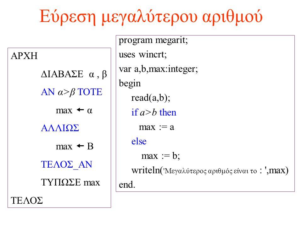 Εύρεση μεγαλύτερου αριθμού ΑΡΧΗ ΔΙΑΒΑΣΕ α, β ΑΝ α>β ΤΟΤΕ max  α ΑΛΛΙΩΣ max  Β ΤΕΛΟΣ_ΑΝ ΤΥΠΩΣΕ max ΤΕΛΟΣ program megarit; uses wincrt; var a,b,max:in