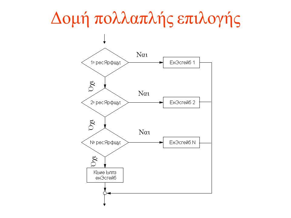 Δομή πολλαπλής επιλογής Ναι Όχι